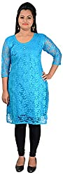 NelNik Women's Net Kurta (Nel041_Medium, Blue, Small)