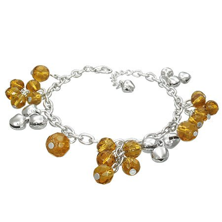The Stainless Steel Jewellery Shop - Fashion Crystal Glass Beads Ball Bell Charm Bracelet/Anklet