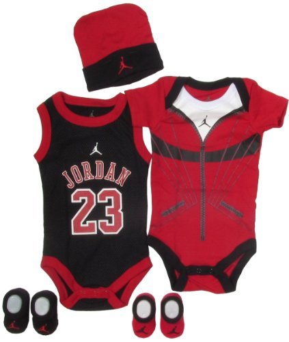 Jordan Baby 23 Jersey and Warmup Set for Baby Boys and Girls (One Size 0-6 Months) Black/ Red, 0-6 Months