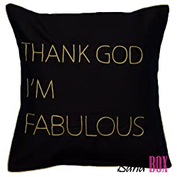 Bandbox Thank God Im Fabulous Cushion Cover - Black (Size-- 16 in. x 16 in.)