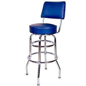 Richardson Bar Stool with Seatback - Double Ring - Chrome Frame: Blue