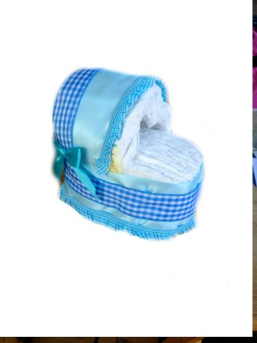 New Baby Diaper Bassinet Gift Set (Small, Blue)