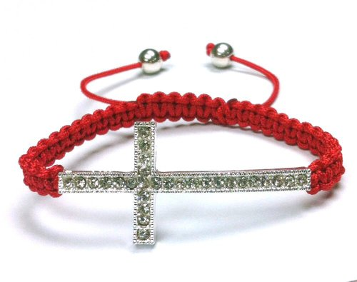 red-lace-style-silver-iced-out-sideways-cross-macrame-bracelet-with-beaded-balls