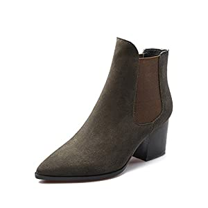 cow suede for fall/winter trends pointed boots/ how beautiful are the feet with thick leather boots with wool-A Foot length=21.8CM(8.6Inch)
