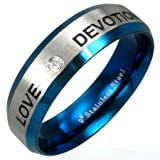 New Stainless Steel Blue Anodised Love Band Ring With CZ Stone, 5mm Wide.