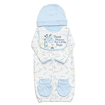 Newborn Baby Boys White Blue 4pc Layette Set 0-6M