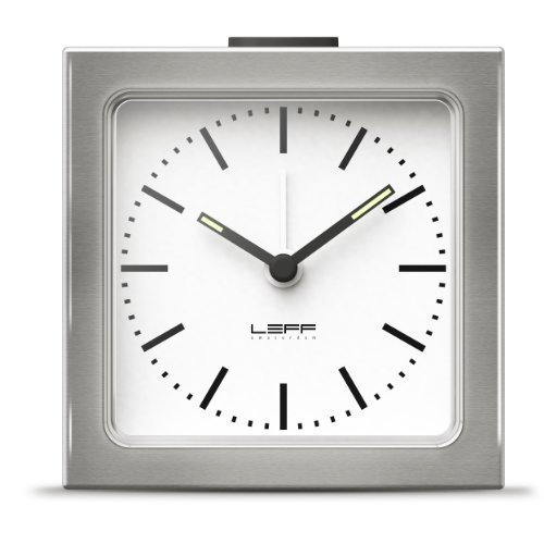 alarm clock block stainless steel white index by LEFF amsterdam