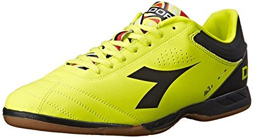 Diadora Men's Italica 3 R Indoor Soccer Shoe, Yellow Fluo/Black, 7 M US