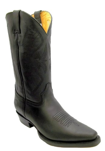 GRINDERS 'LOUISIANA' REAL COWBOY BOOTS - BLACK POINTED TOE - UK 7 - 11