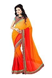 Priyam Creation New Designer Orange color Padding fancy Party Wear Saree With Blouse Piece.