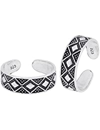 Diwali Gifts Peora 925 Sterling Silver Oxidised Squared Up Toe Rings For Women, Adjustable...