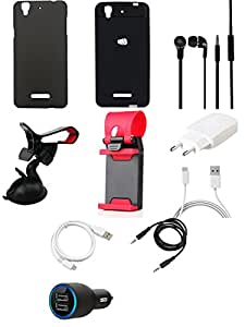 NIROSHA Cover Case Charger Headphone USB Cable Mobile Holder Combo for YU Yureka Combo
