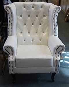 Chesterfield Queen Anne Wing Armchair in White Diamante Bycast Leather by Chesterfield