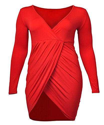 VIISHOW Womens Plus Size Deep V Neck Bodycon Wrap Dress with Front Slit (L, Red)