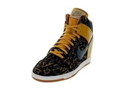 Nike Women's Dunk Sky Hi Prm Gold Suede/Dk Armory Blue Casual Shoe 6.5 Women US