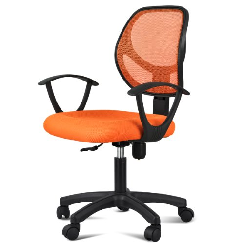 yaheetech ergonomic mesh computer office desk task midback task chair orange furniture. Black Bedroom Furniture Sets. Home Design Ideas