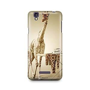 Motivatebox -Micromax Yureka Back Cover - Bold Giraffe Polycarbonate 3D Hard case protective back cover. Premium Quality designer Printed 3D Matte finish hard case back cover.