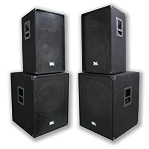 "Seismic Audio - Pair of 15"" PA DJ SPEAKERS 18"" SUBWOOFERS PRO AUDIO - Band, Bar, Wedding, Church"