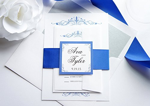 Royal Blue Wedding Invitation- SAMPLE SET