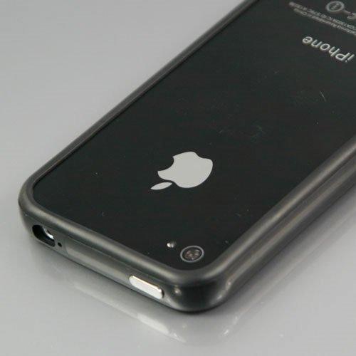 i-Beans 「全33色」iPhone 4S用バンパーケース (Soft+Hard)シリコン+プラスチック  ブラック   Bumper Case for アイフォン4S 液晶保護フィルム USB充電ケーブル付 (1840-24)
