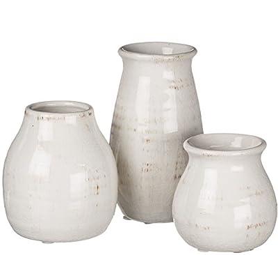 """Sullivans 3"""" - 5.5"""" Distressed Decorative White Porcelain Crackled Vases - Set of 3"""