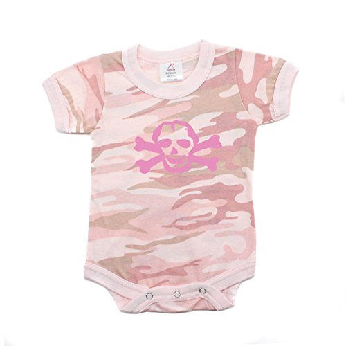 Crazy Baby Clothing Pink Scribble Skull Short Sleeve Baby Pink Camo Bodysuit