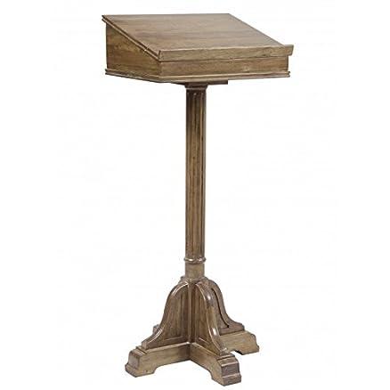 Grande Leggio di lettura Lutrin su piede ecritoire in acacia massiccio con spazio portaoggetti 50x 50x 116cm–Vecchio Legno