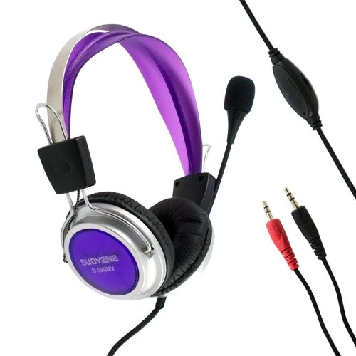 3.5Mm Jack Stereo Adjustable Volume Circumaural Purple Color Headphone Headset Earphone Ear Buds With Microphone For Pc Laptop Macbook Computer Notebook Skype Chatting Gaming Listening To Music