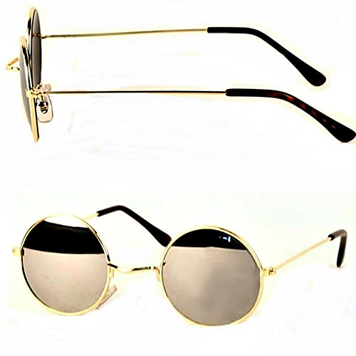 Lennon Style 60s Round Sunglasses Mirror Hippie Spectacles Gold Frame