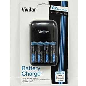 Vivitar VIV-BC-181  4 Slot Overnight Charger with 4 AA Batteries (Black)