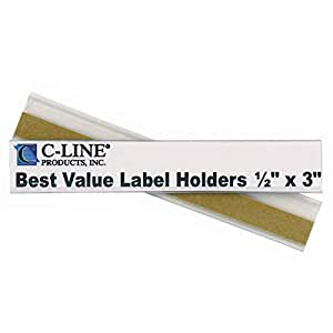 C-Line Best Value Peel and Stick Shelf/Bin Label Holders, Inserts Included, 1/2 x 3 Inches, 50 per Pack (87607)