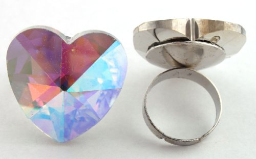 Ladies Clear Ab Heart Shape Metal Adjustable Finger Ring