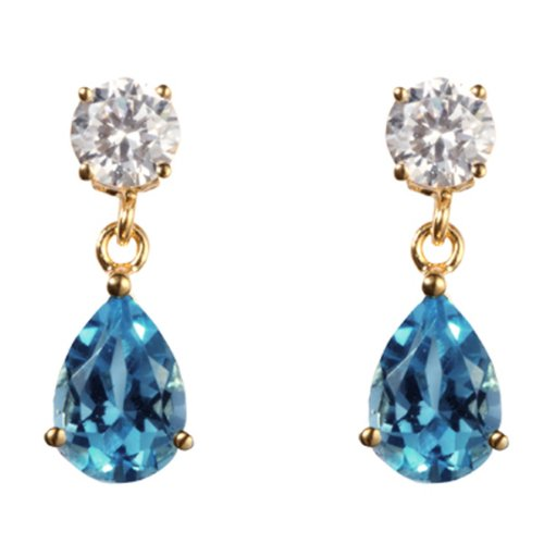 9ct yellow gold blue topaz & white cubic zirconia drop earring