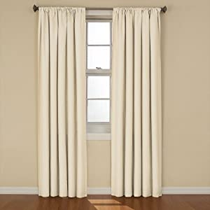 Eclipse Kendall Blackout Thermal Curtain Panel Ivory 84 Inch Home Kitchen