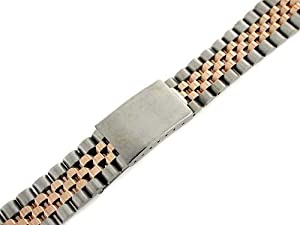 Mens 18k/ss Jubilee Watch Band for Rolex 20mm Rose Gold