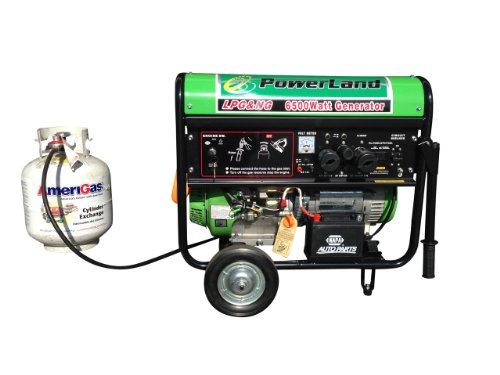 Powerland Pdnl6500E Portable Dual Fuel Lpg Propane/Natural Gas Generator, 6500-Watt