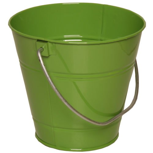 Solid Lime Green Large Metal Pail Bucket - Sold Individually front-22465
