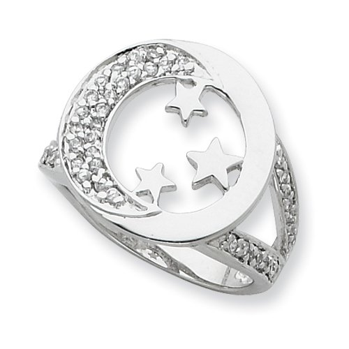 Sterling Silver & Cz I Promise You The Moon And Stars Ring, Size 7