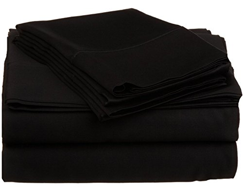 400 Thread Count Extra Large Deep 25 Inches 4-Piece Soft Bedding Room Sheet Set 100% Egyptian Cotton Solid ( King , Black ) Made By Branded Srp Linen front-1038237