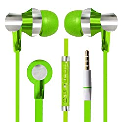 With Volume Control & MIC Function Designer Series & Comfort Fit Stereo Headset Handsfree Headphone Earphone 3.5 MM Jack for Swipe Konnect 5.1 -Green