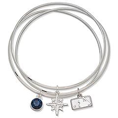 Buy MLB Logo Art Seattle Mariners Ladies Spirit Crystal Bangle Bracelet Set by Logo Art