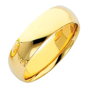 14K Yellow Gold Polished 6mm Comfort Fit Plain Wedding Bridal Band Ring (Size 5 to 12) - Size 12