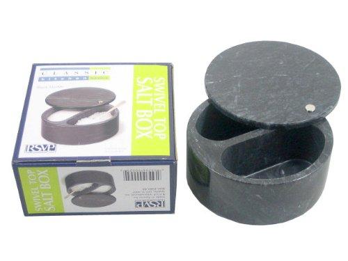 RSVP R.S.V.P. Swivel Top Salt Box, Black Marble