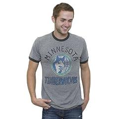 NBA Minnesota Timberwolves Mens Vintage Tri-Blend Short Sleeve Ringer T-Shirt, Steel... by Junk Food