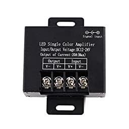 SUPERNIGHT Aluminum DC12-24V 20A LED Single Color Strip Amplifier For 3528 5050 Single Color LED Strip Light - Black