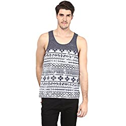 Atorse Mens Navy Grindle and White Printed Casual Sandos