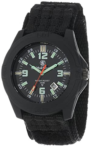 Smith & Wesson Men's SWW-12T-R Soldier Tritium H3 Black Nylon Strap Watch