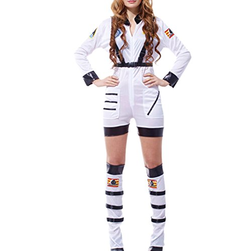 Qianle Women Astronaut Spacewomen Fancy Dress Costume Cosplay Uniform White