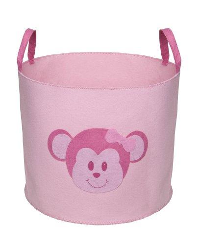 Delta Children Nursery and Toy Storage Bin, Barely Pink with Monkey