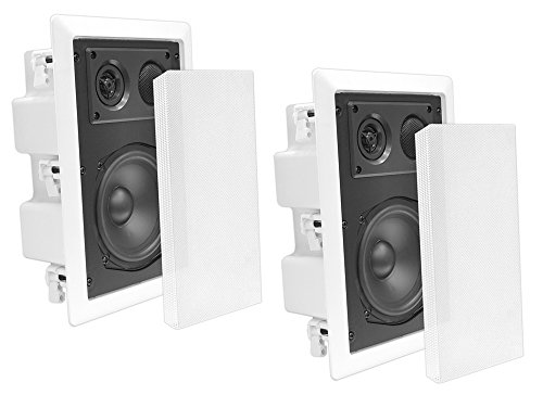 Pyle Pdiw67 In-Wall / In-Ceiling Dual 6.5-Inch Enclosed Speaker System, Directional Tweeter, 2-Way, Flush Mount, White (Pair)